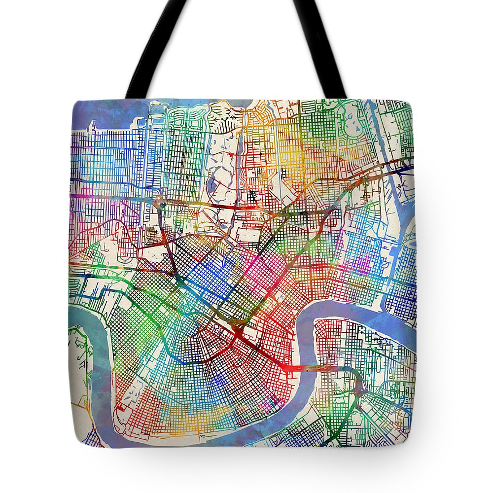 Street Map Tote Bag featuring the digital art New Orleans Street Map by Michael Tompsett