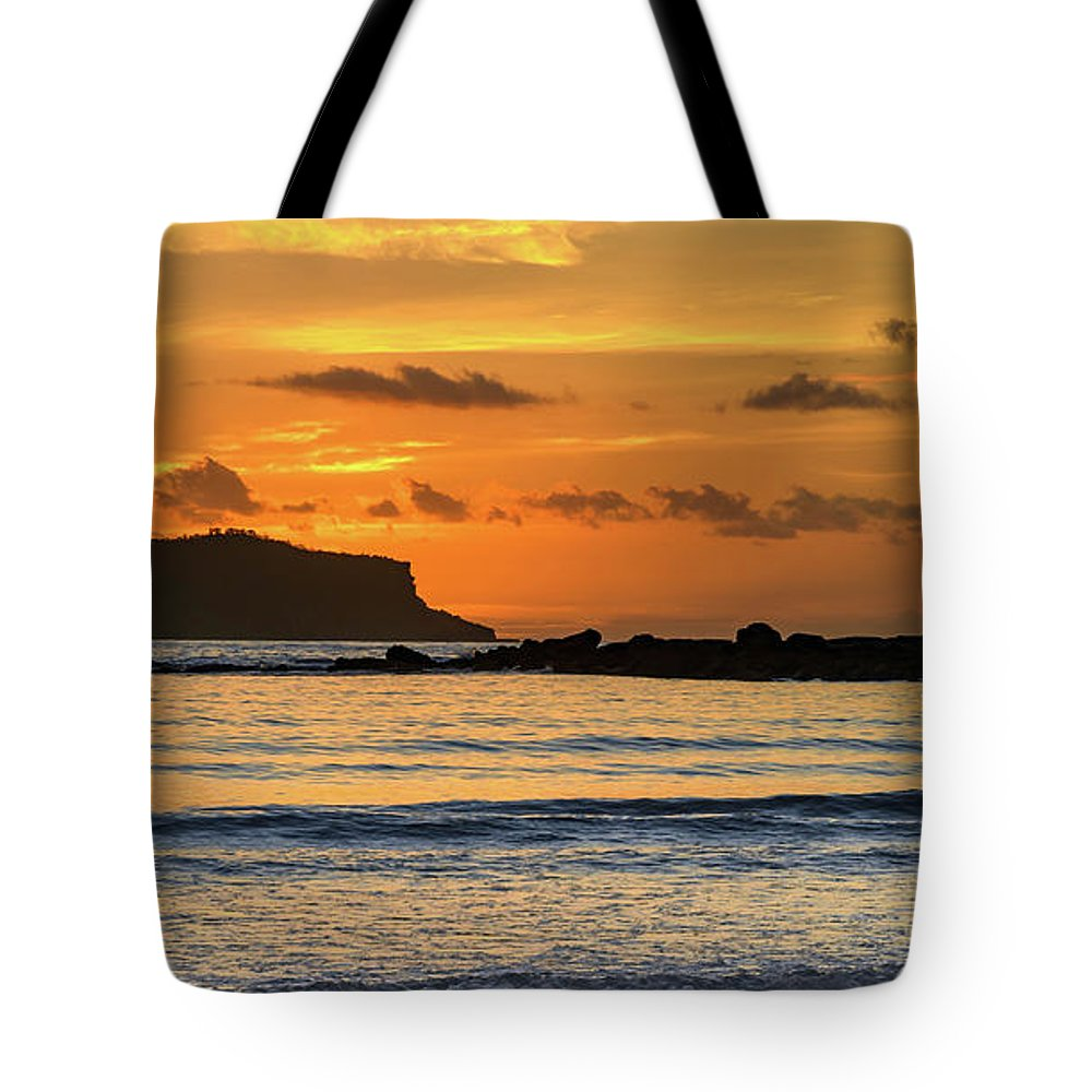 Umina Beach Tote Bag featuring the photograph Orange Sunrise Seascape by Merrillie Redden
