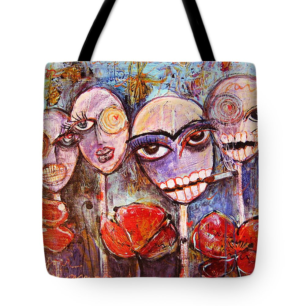 Dia De Los Muertos Tote Bag featuring the painting 5 Poppies For The Dead by Laurie Maves ART
