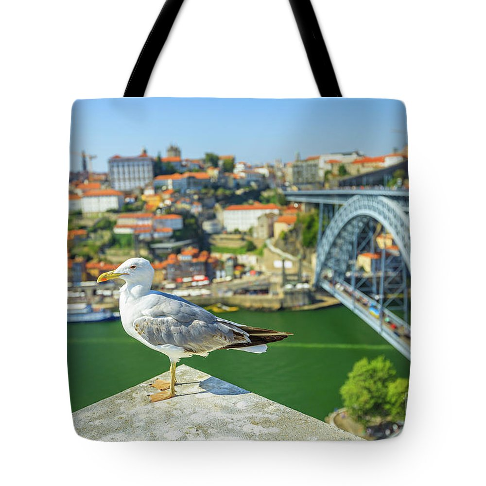 Porto Tote Bag featuring the photograph Porto Skyline Seagull by Benny Marty