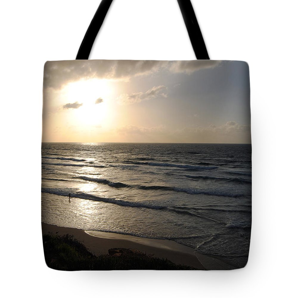 Beach Tote Bag featuring the photograph Sunset At Jaffa Beach 12 by Isam Awad