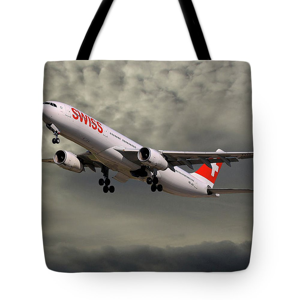 Swiss Tote Bag featuring the photograph Swiss Airbus A330-343 5 by Smart Aviation