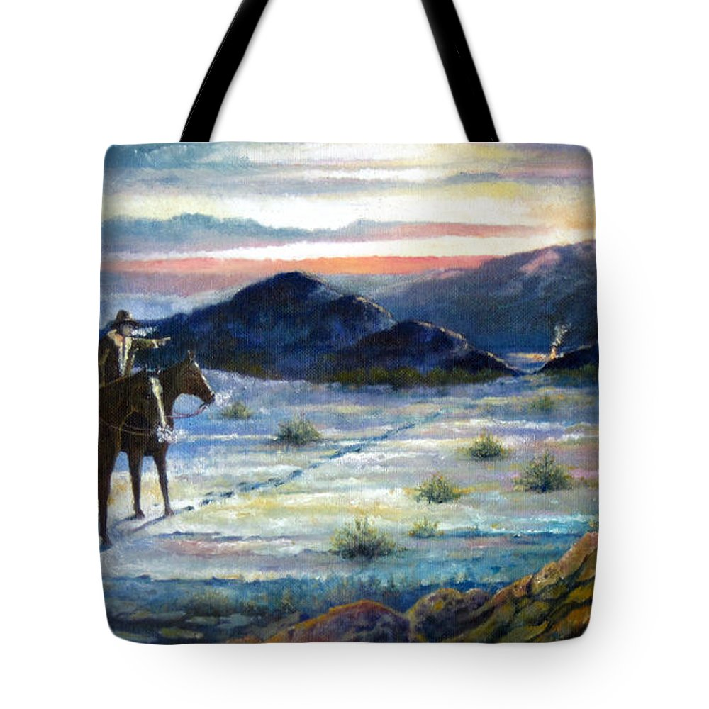 Texas Lawmen New Mexico Horses Cowboys Trees Mountains Paintings Giclee Prints Tote Bag featuring the painting Texas Rangers On His Trail by Donn Kay