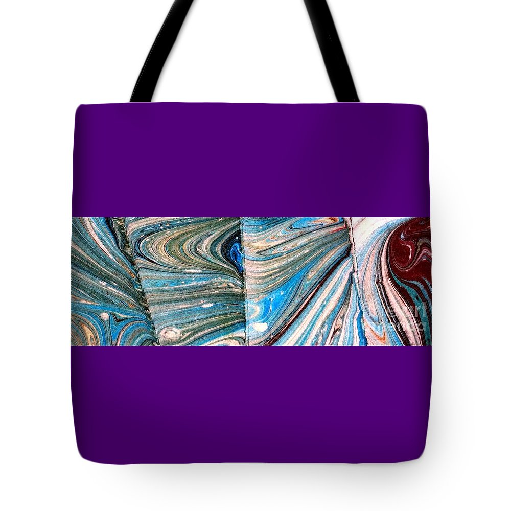 Abstract Tote Bag featuring the painting Water Marbling Art, Ebru by Dilan C