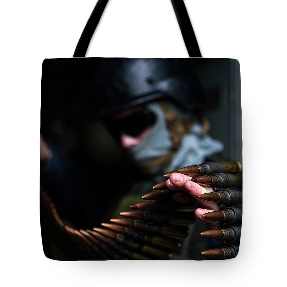 Military Tote Bag featuring the painting .50-caliber Machine Gun , By Us Navy, Military 50 by US Navy Military