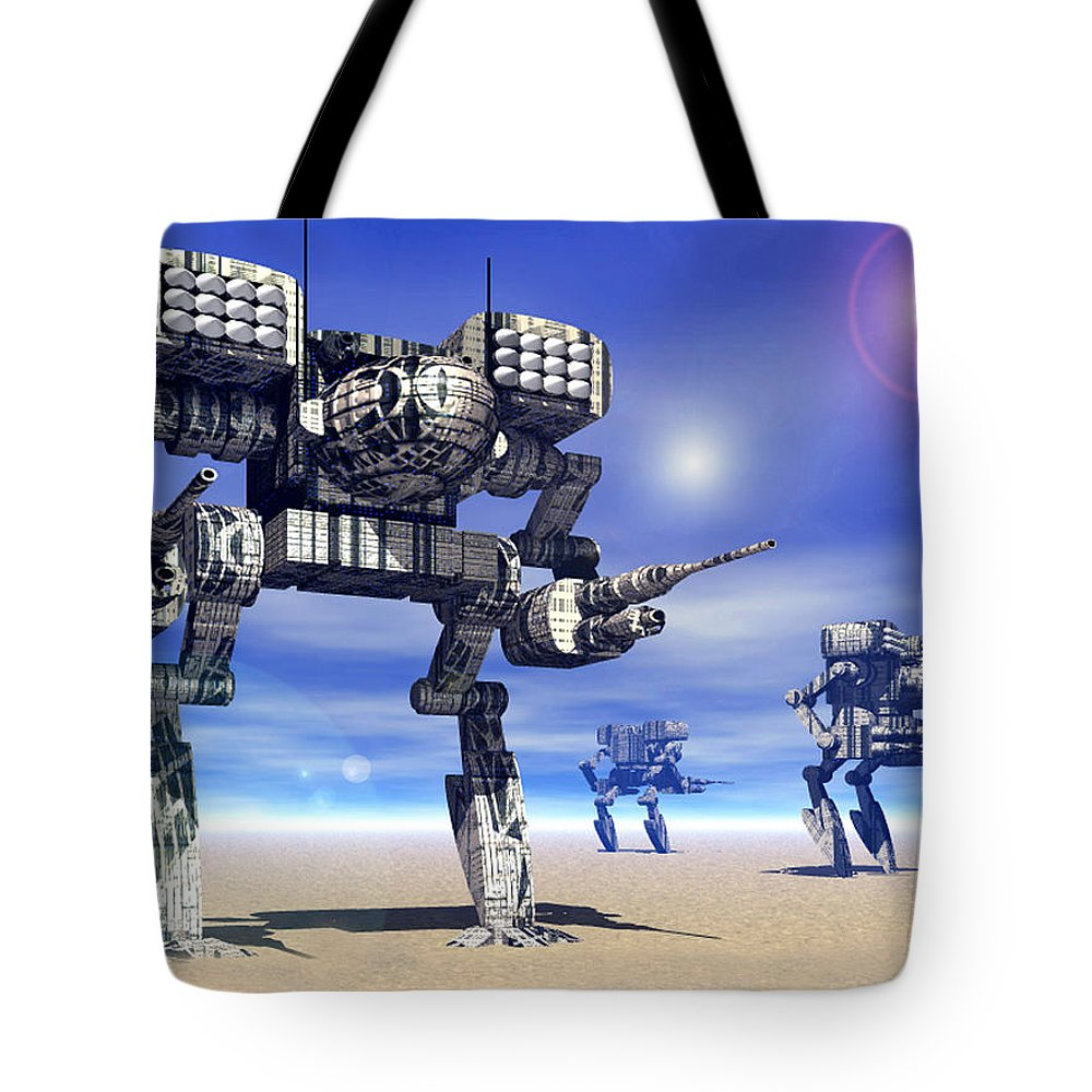 Science Fiction Tote Bag featuring the digital art 501st Mech Trinary by Curtiss Shaffer