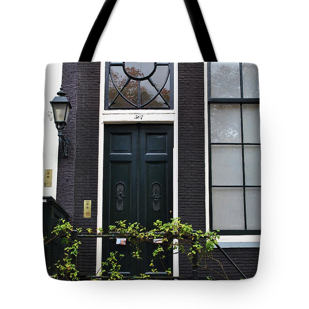 Amsterdam Tote Bag featuring the photograph 507 Doors Of Amsterdam Green by Jost Houk