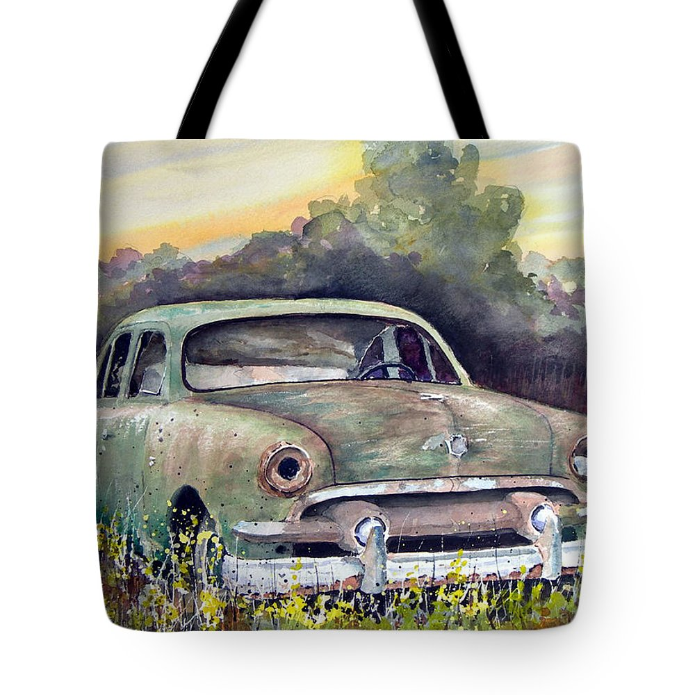 Car Tote Bag featuring the painting 51 Ford by Sam Sidders