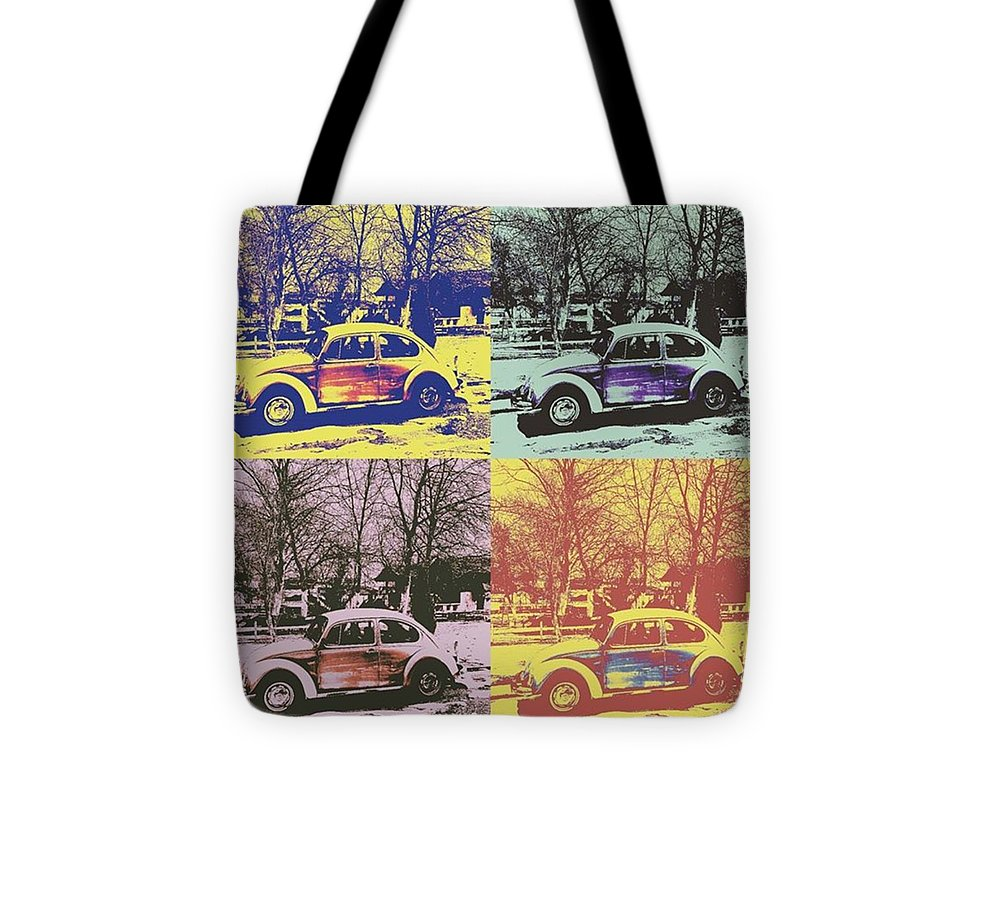 #car #oldtimer #beetle #vwbeetle #oldbeetle #oldvwbeetle Tote Bag featuring the photograph Old Beetle-pop Art by Pastime Ideas