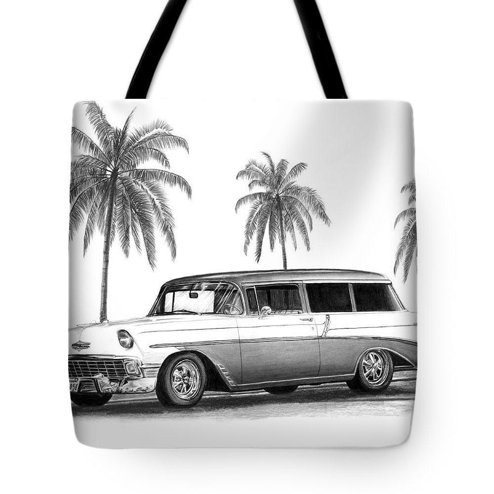 1957 Chevrolet Wagon Tote Bag featuring the drawing 56 Chevy Wagon by Peter Piatt