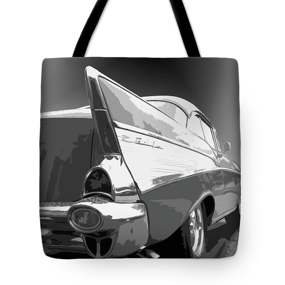 1957 Tote Bag featuring the photograph 57 Chevy Horizontal by Dick Goodman