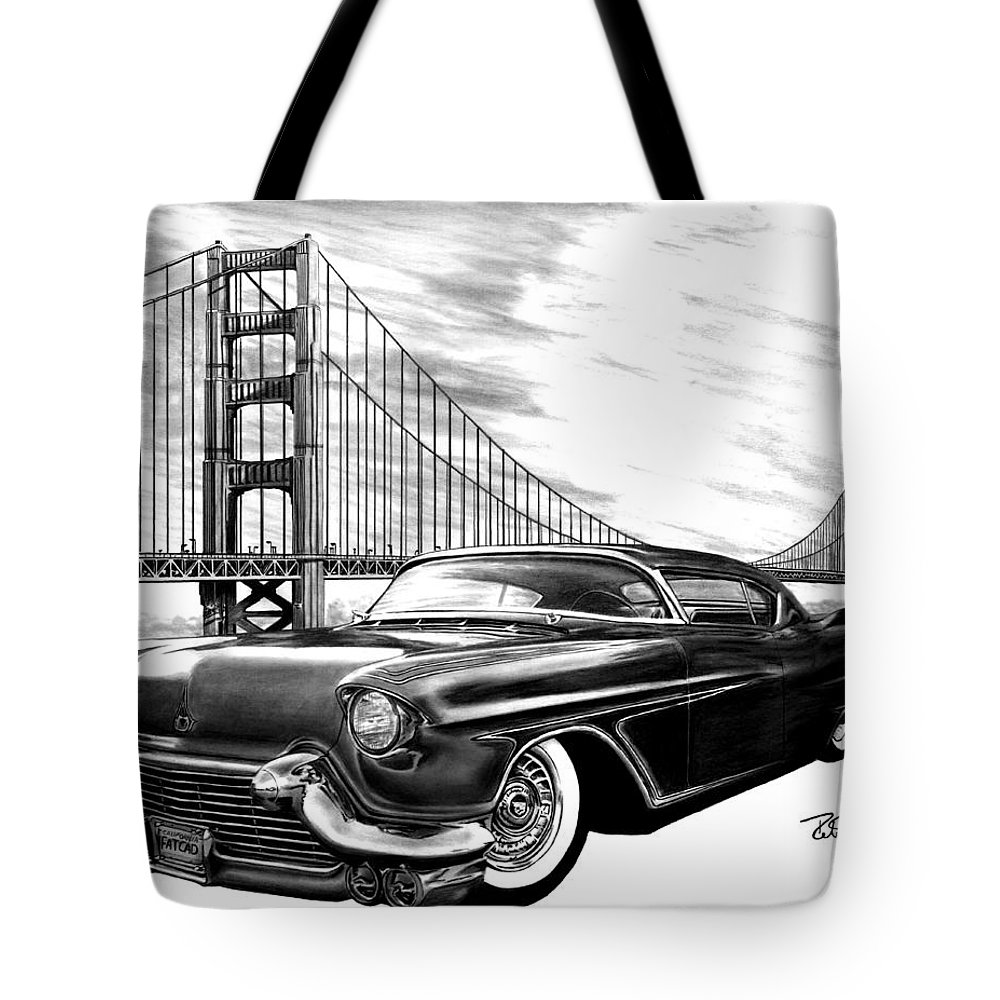 57 Fat Cad Tote Bag featuring the drawing 57 Fat Cad by Peter Piatt