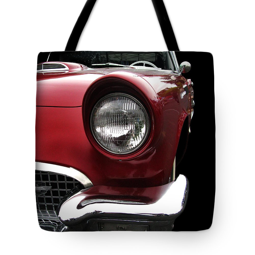 1957 Thunderbird Tote Bag featuring the photograph 57 T-bird by Peter Piatt