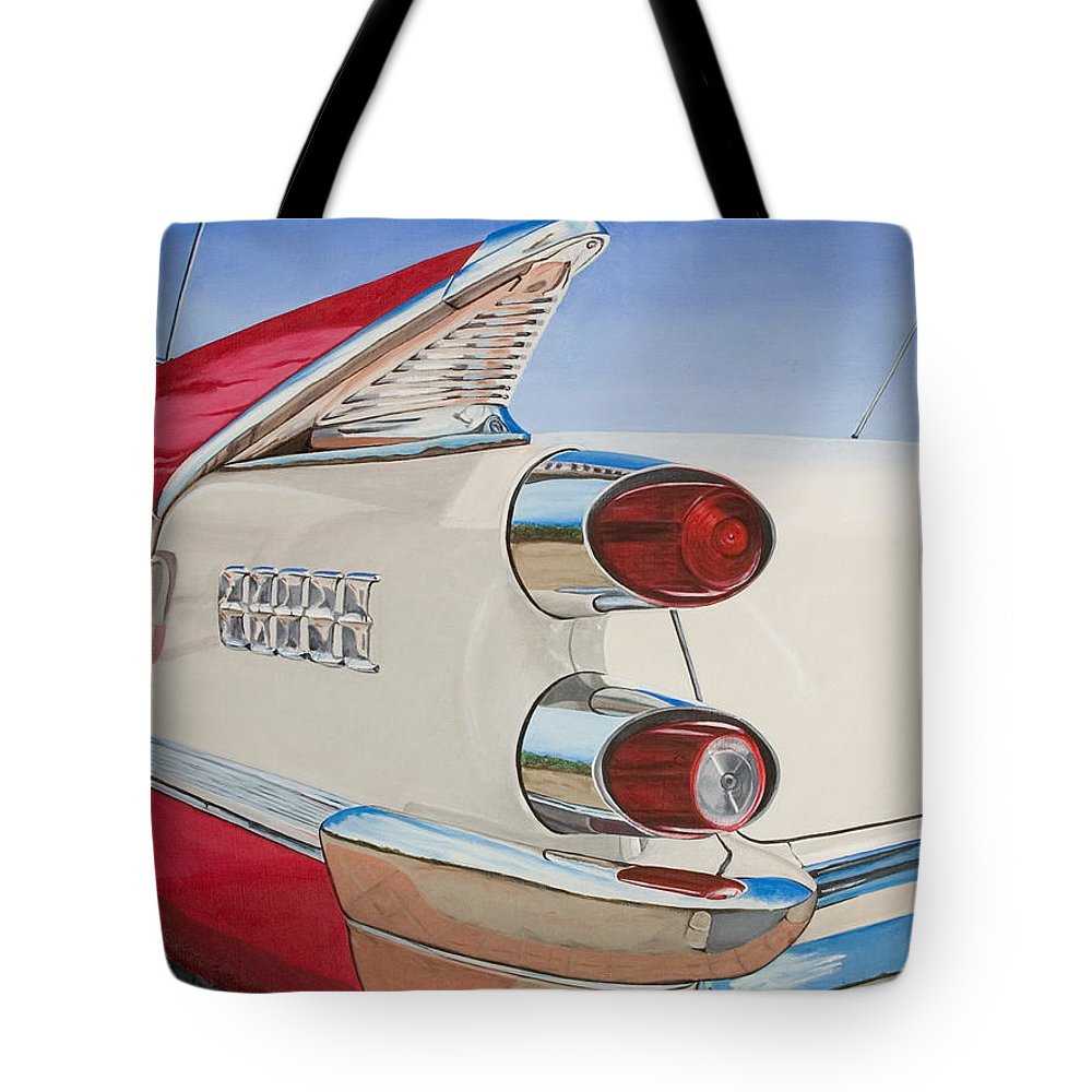 Car Tote Bag featuring the painting 59 Dodge Royal Lancer by Rob De Vries