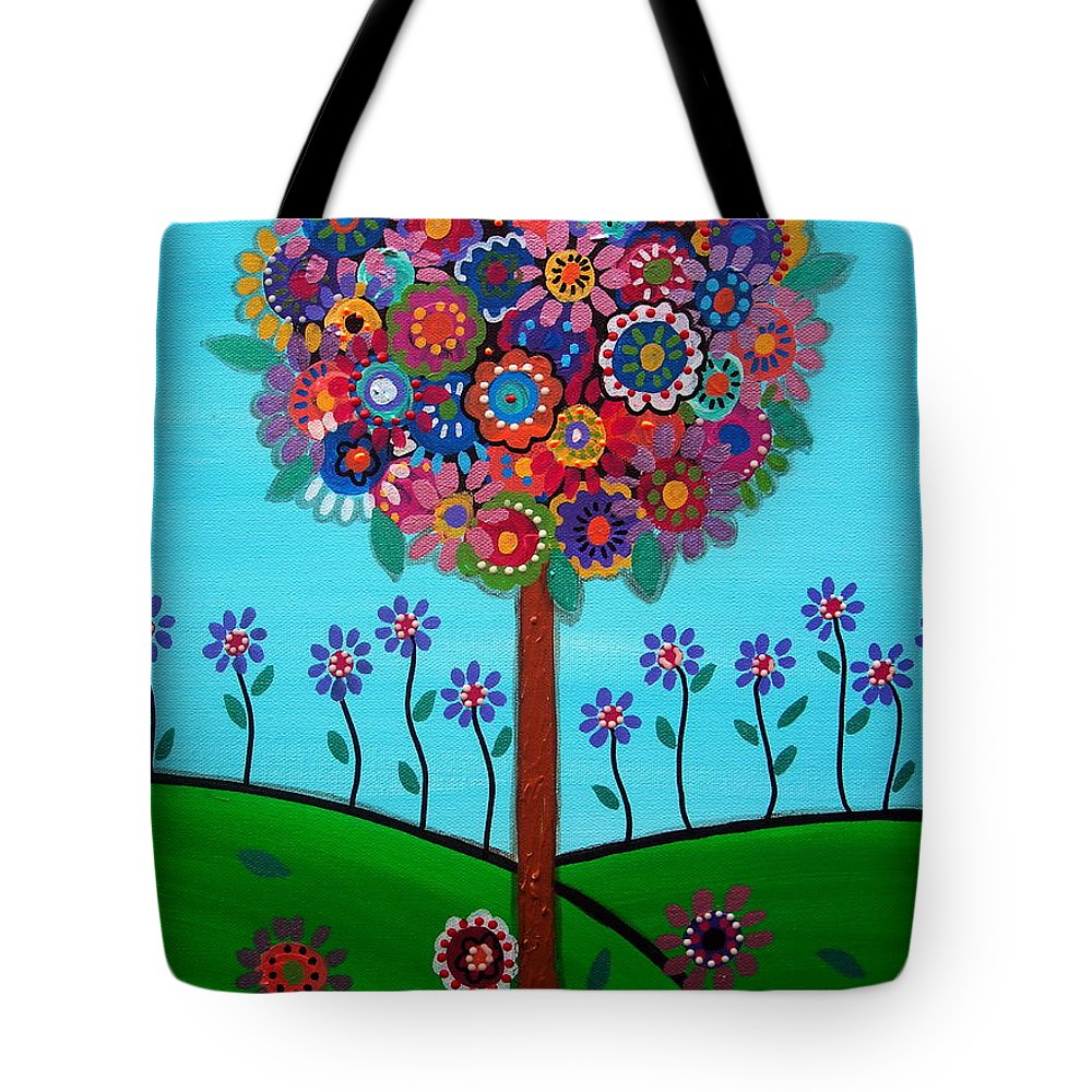 Mexican Town Tote Bag featuring the painting Tree Of Life by Pristine Cartera Turkus