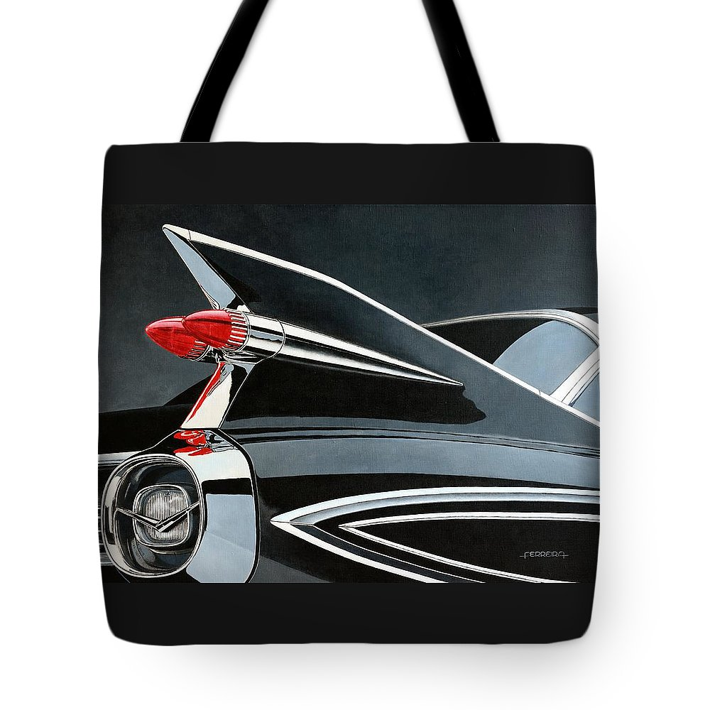 Car. Cadillac Tote Bag featuring the painting '59's Fleetwood by Carlos Maria Ferreira Soto