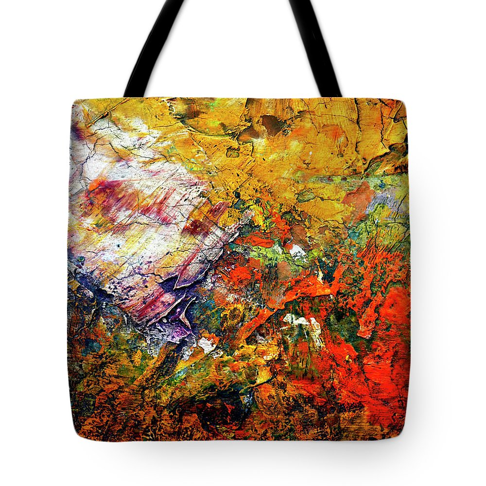 Craftsmanship Tote Bag featuring the painting Abstract by Michal Boubin