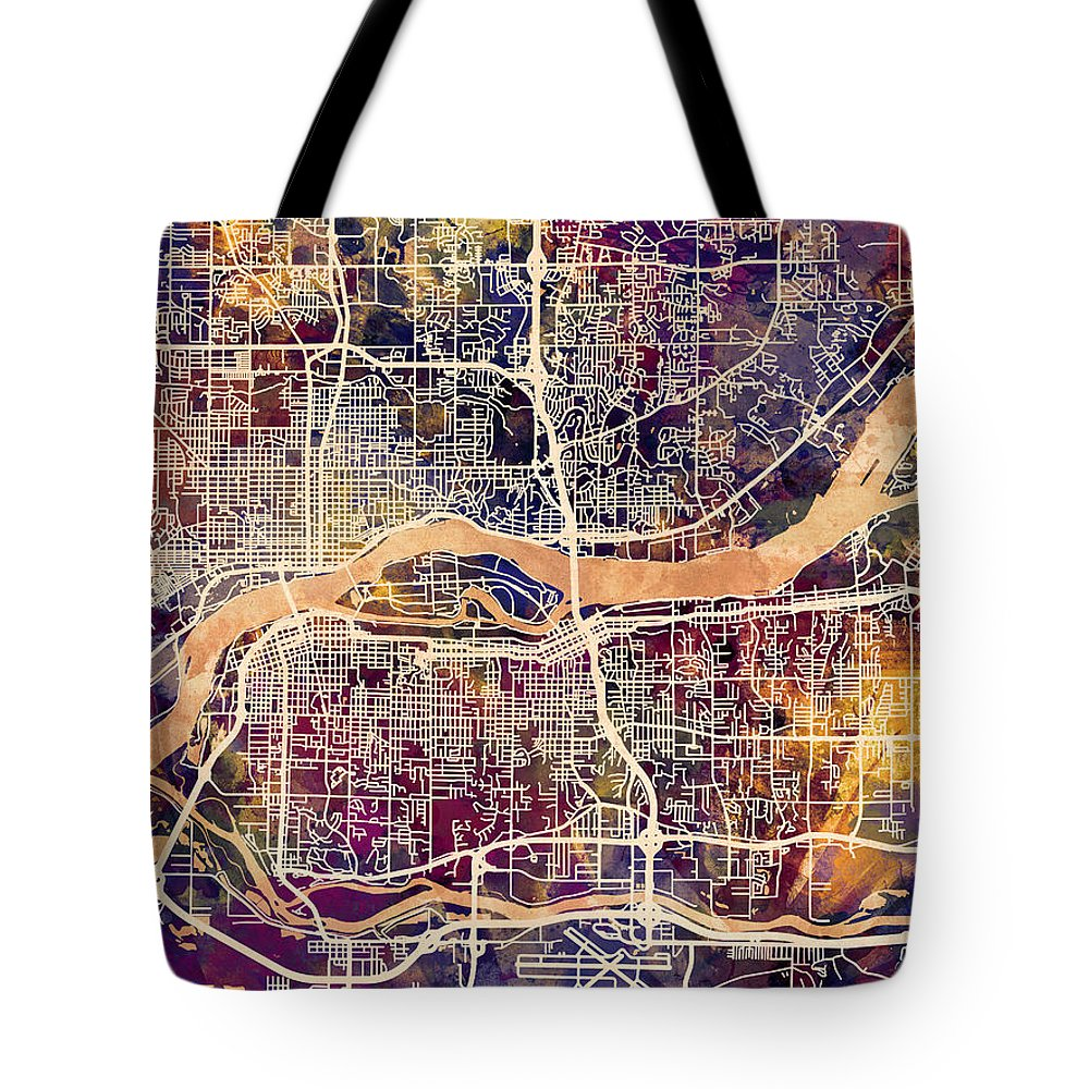 Street Map Tote Bag featuring the digital art Quad Cities Street Map by Michael Tompsett