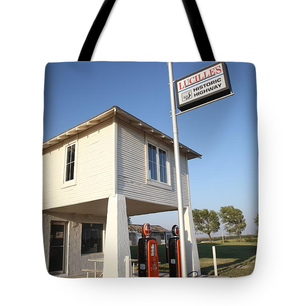 66 Tote Bag featuring the photograph Route 66 - Lucille's Gas Station by Frank Romeo