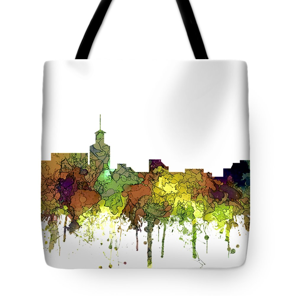 Santa Fe New Mexico Skyline Tote Bag featuring the digital art Santa Fe New Mexico Skyline 6 by Marlene Watson