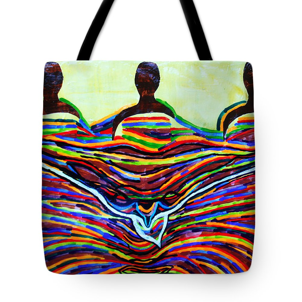 Jesus Tote Bag featuring the painting The Holy Trinity by Gloria Ssali