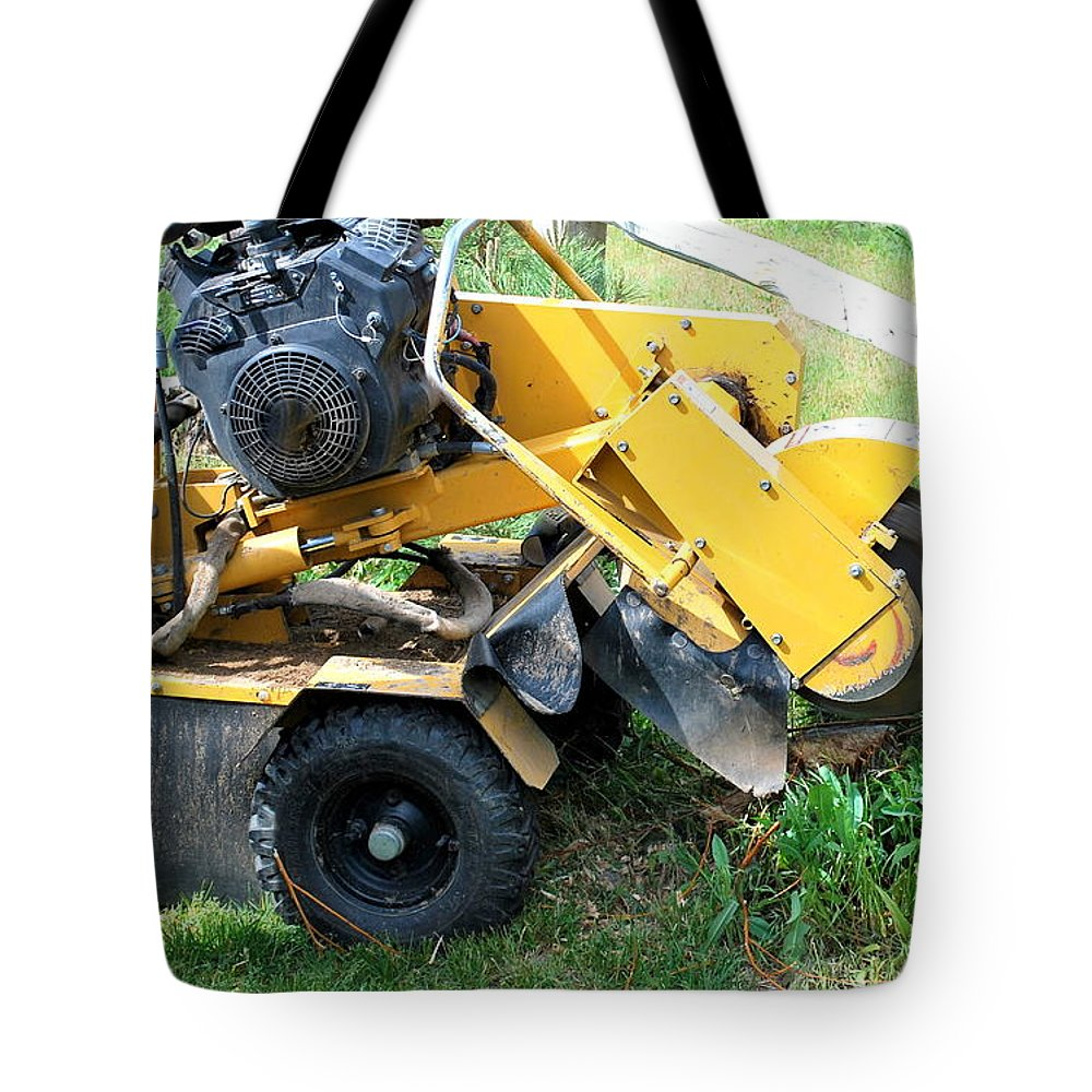 Tree Tote Bag featuring the photograph Tree Stump Machine. by Oscar Williams
