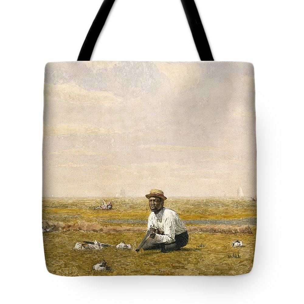 Thomas Eakins (american Tote Bag featuring the painting Whistling For Plover by Thomas Eakins