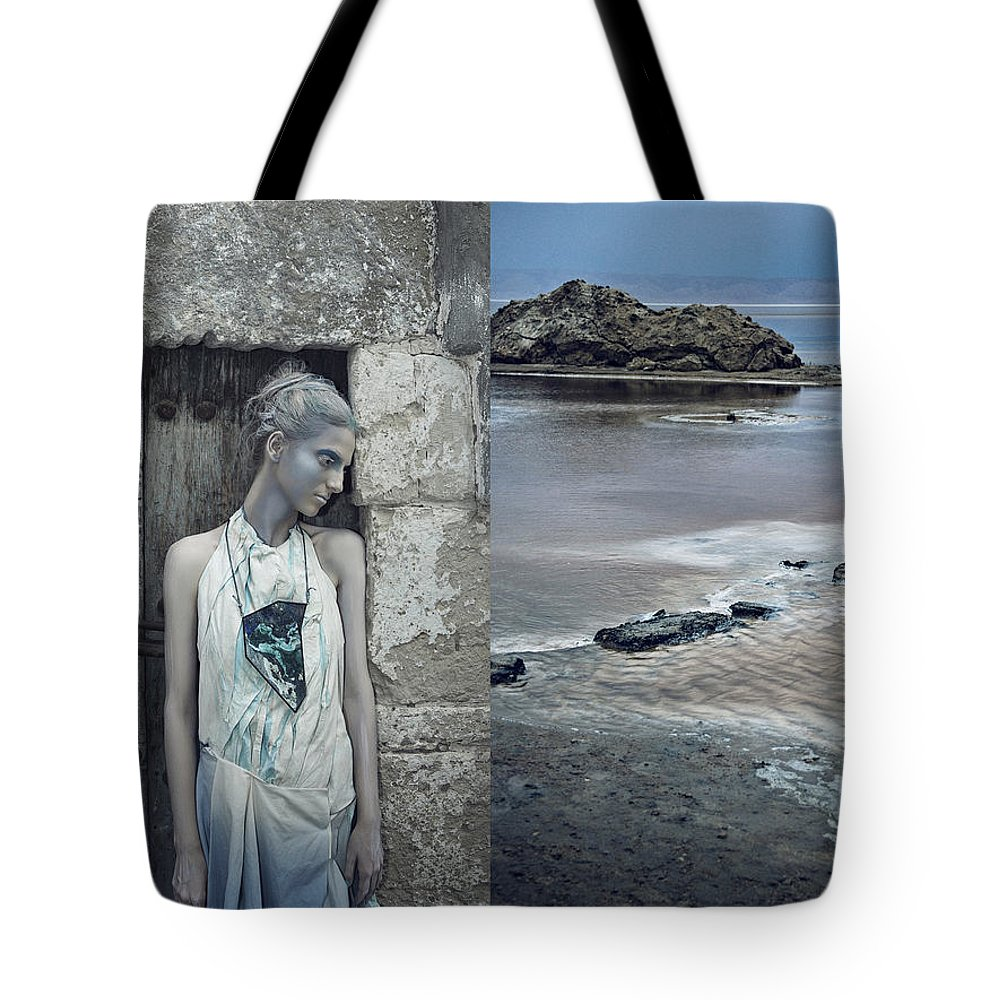 Art Tote Bag featuring the photograph Woman In Ash And Blue Body Paint by Veronica Azaryan