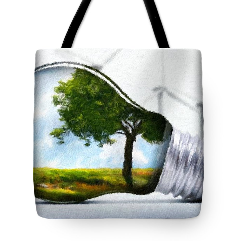 Landscape Tote Bag featuring the painting Nature Art Original Landscape Paintings by World Map