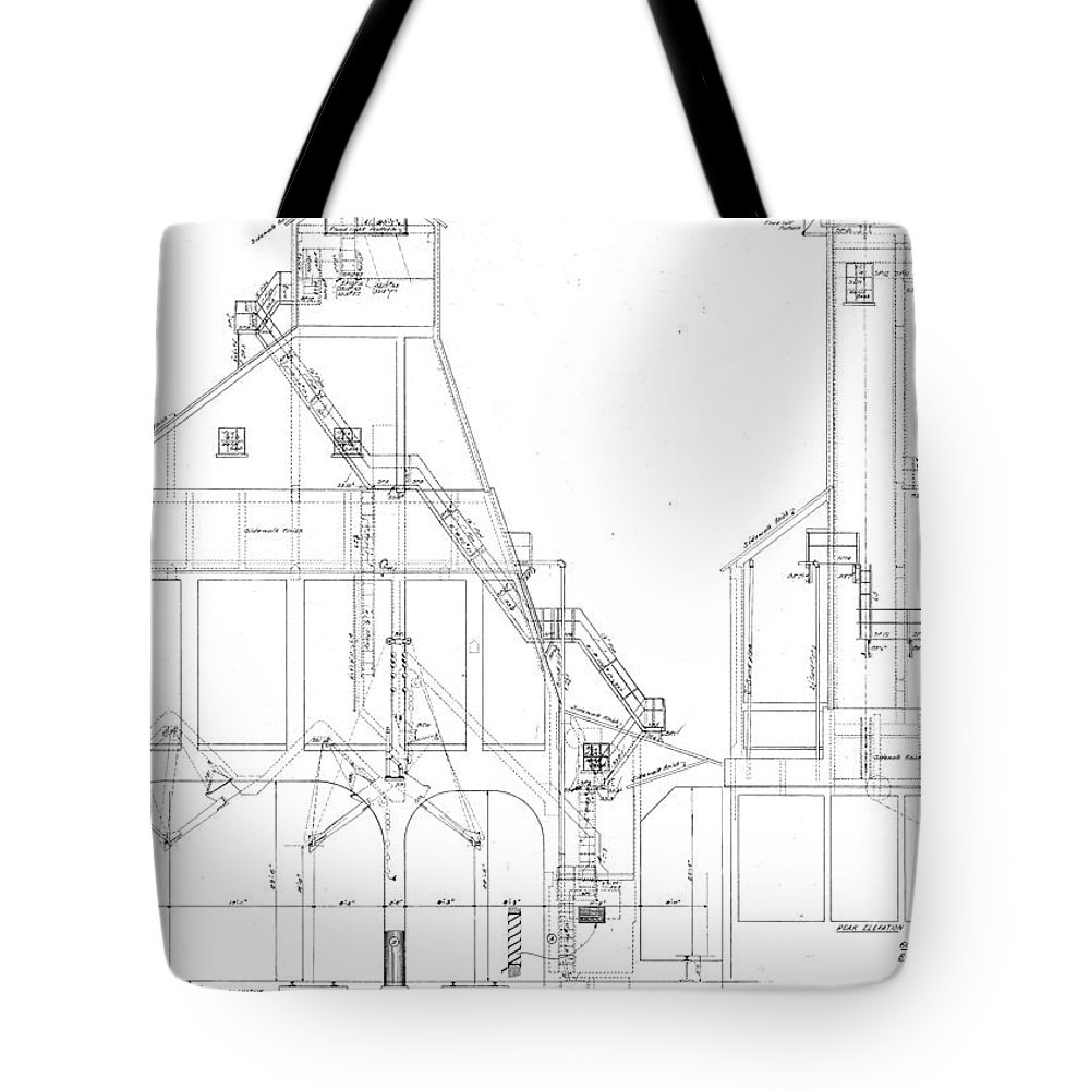 Baltimore Tote Bag featuring the drawing 600 Ton Coaling Tower Plans by Baltimore and Ohio Railroad