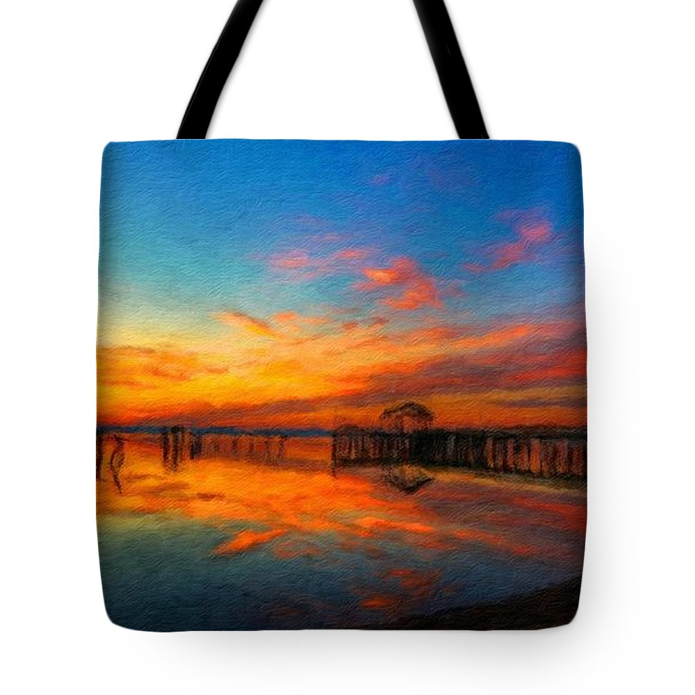 Landscape Tote Bag featuring the painting Nature Oil Canvas Landscape by World Map