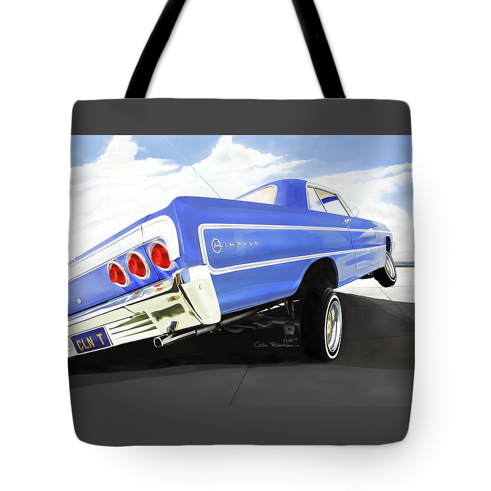 Lowrider Tote Bag featuring the digital art 64 Impala Lowrider by Colin Tresadern