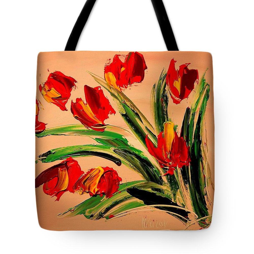 Impressionist Framed Prints Tote Bag featuring the mixed media Flowers by Mark Kazav