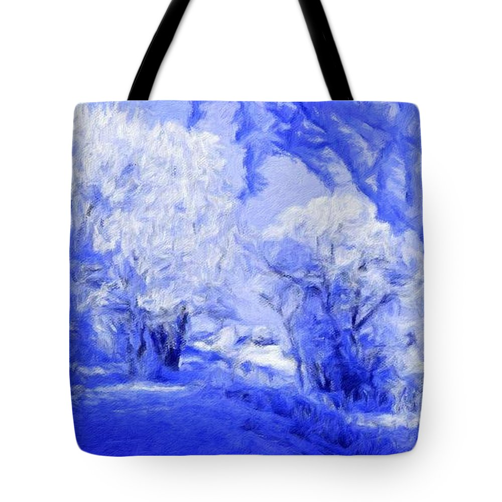 Landscape Tote Bag featuring the painting Nature Landscape Illumination by World Map