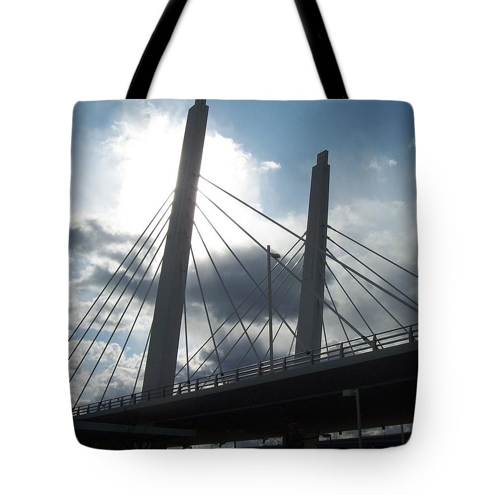 Bridge Tote Bag featuring the photograph 6th Street Bridge Backlit by Anita Burgermeister