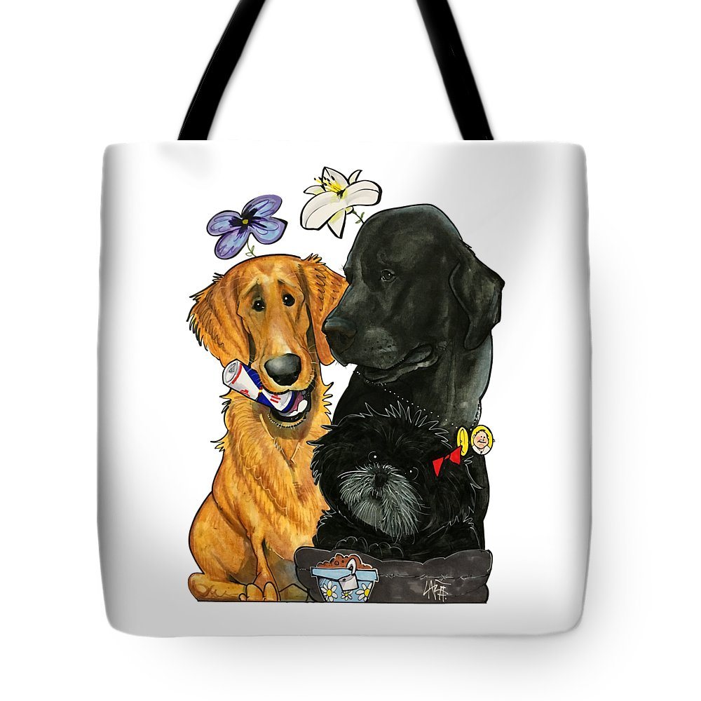 Pet Portrait Tote Bag featuring the drawing 7-1396 Scallon 7 by John LaFree