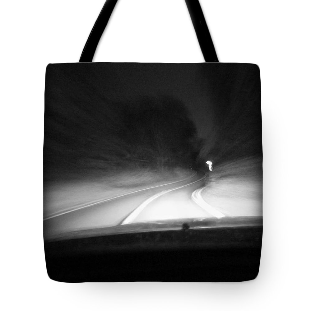 Don't Drop The Crystal Ball Tote Bag featuring the photograph 7-19-16--3467 Black And White, The Drive Home, Don't Drop The Crystal Ball by Vicki Hall