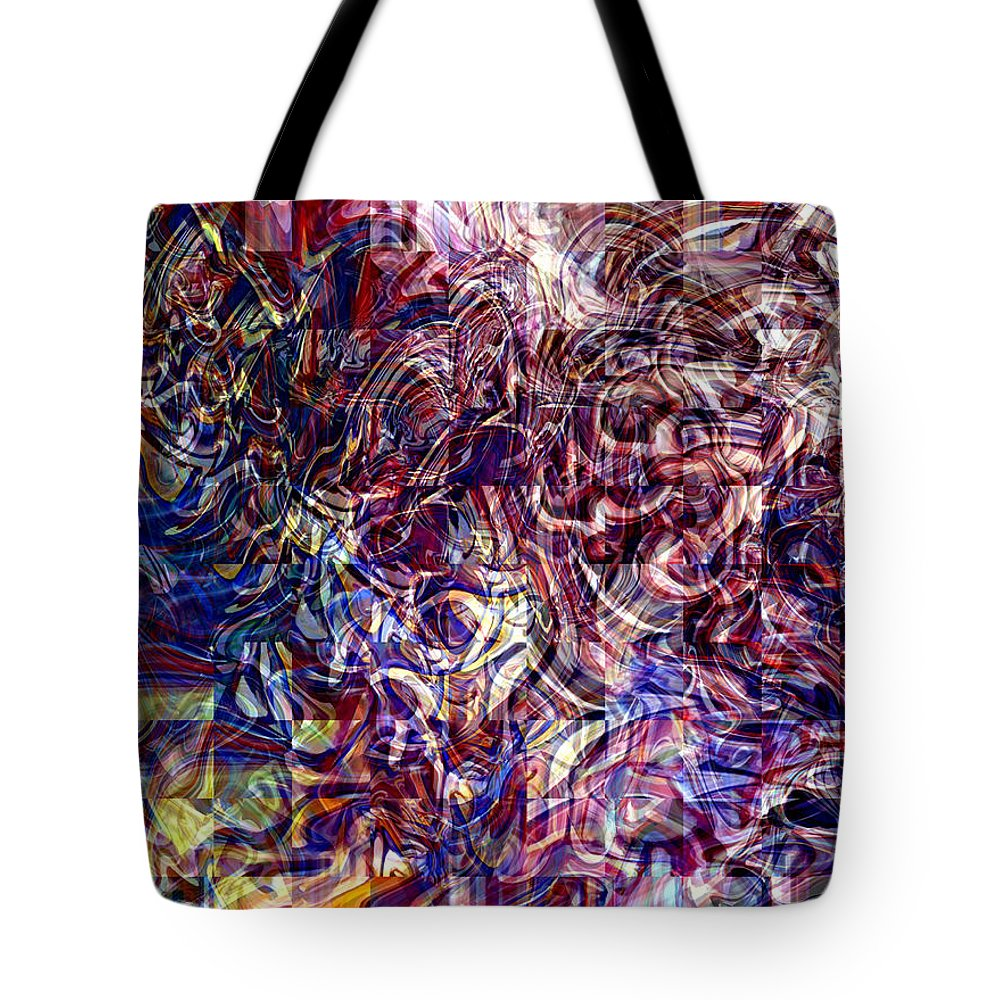 Abstract Green Yellow Red White Blue Tote Bag featuring the digital art Abstract by Galeria Trompiz