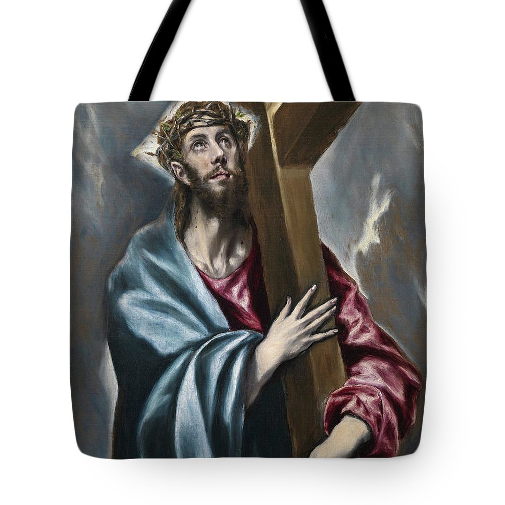 Christ Tote Bag featuring the painting Christ Carrying The Cross by El Greco