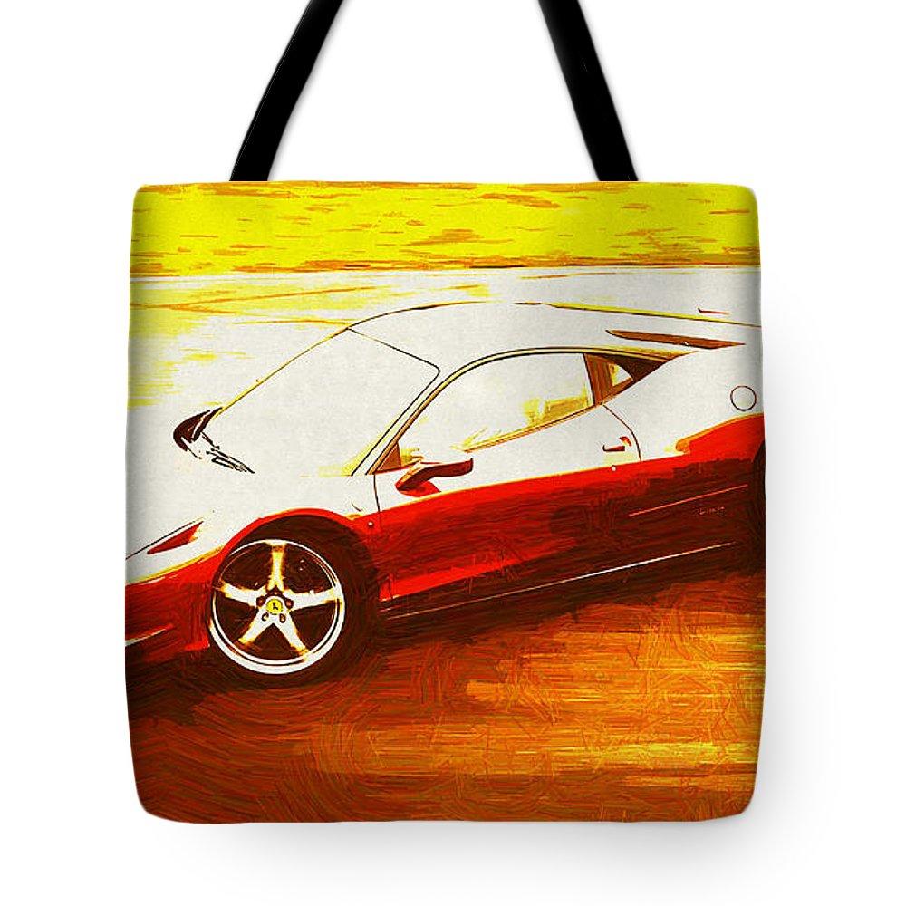 Ferrari Tote Bag featuring the digital art Ferrari by Lora Battle