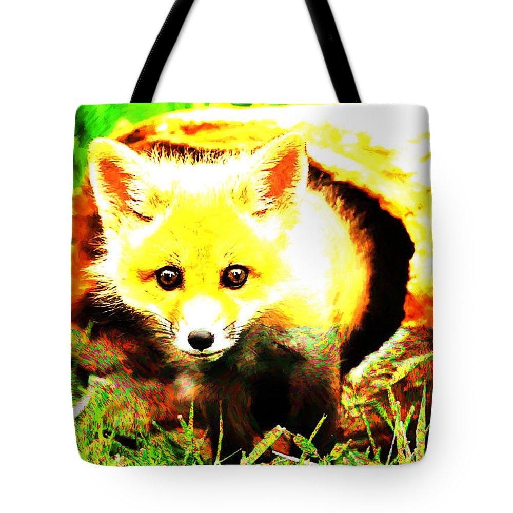 Fox Tote Bag featuring the digital art Fox by Lora Battle