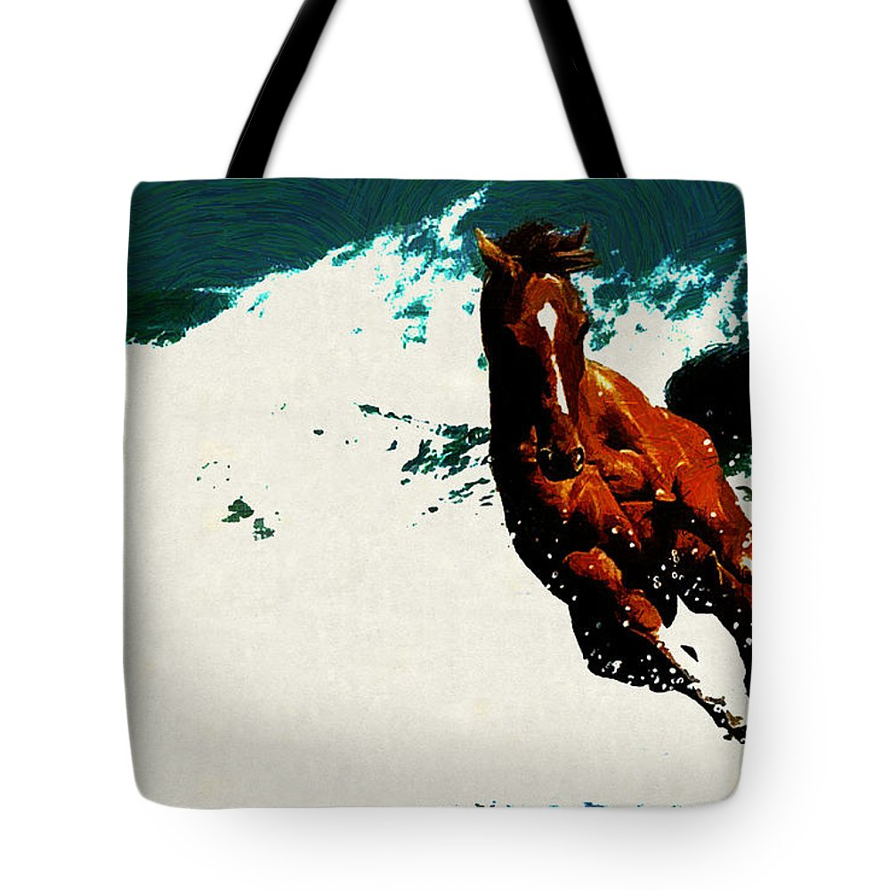 Horse Tote Bag featuring the digital art Horse by Lora Battle
