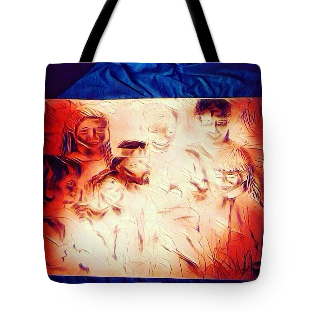 Jesus Tote Bag featuring the drawing In Heaven with Jesus by Love Art Wonders By God