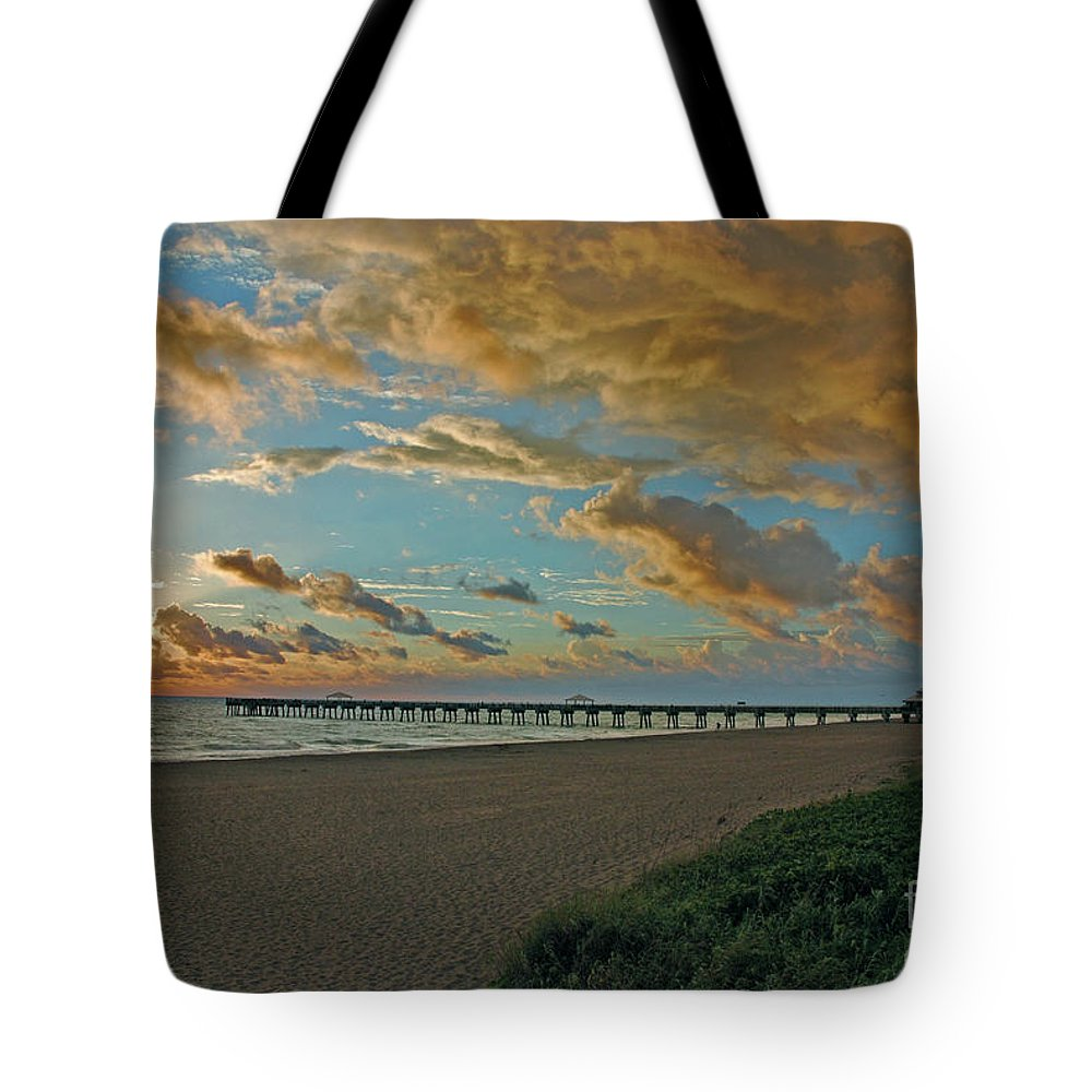 Tote Bag featuring the photograph 7- Juno Beach Pier by Joseph Keane