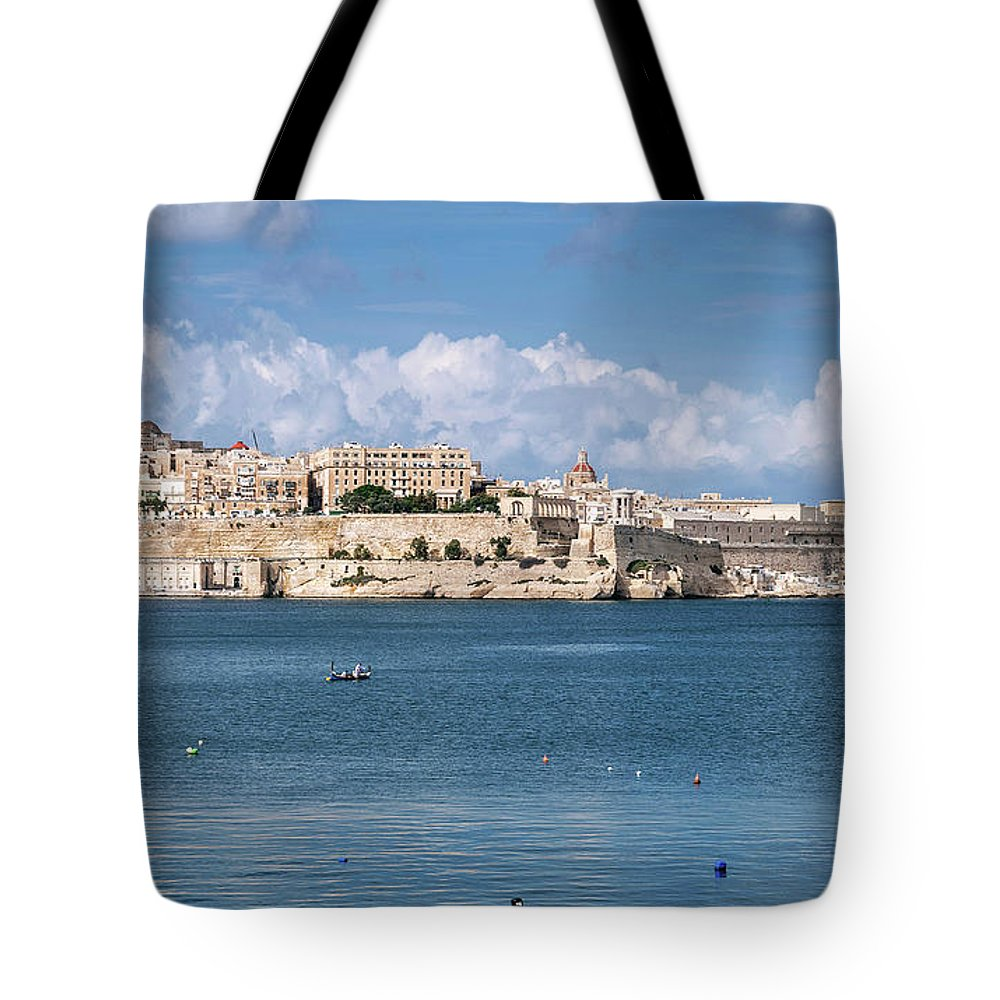 Ancient Tote Bag featuring the photograph La Valletta Old Town Fortifications Architecture Scenic View In by Jacek Malipan