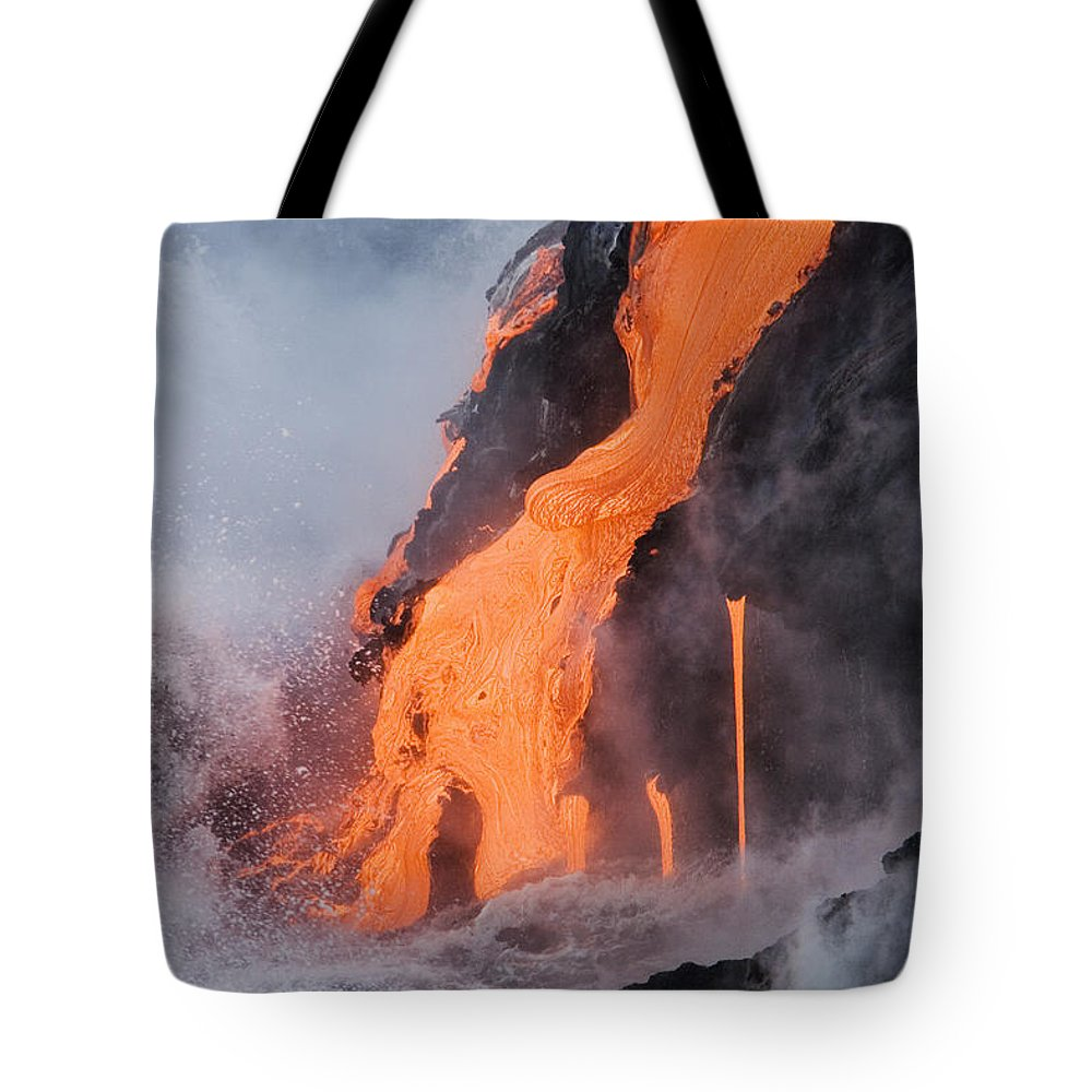 Active Tote Bag featuring the photograph Pahoehoe Lava Flow by Ron Dahlquist - Printscapes