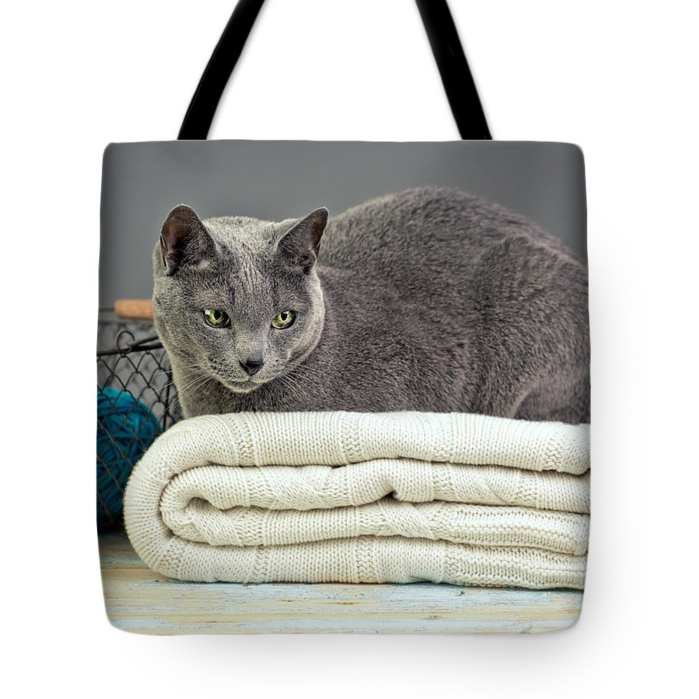 Purebred Tote Bag featuring the photograph Russian Blue by Nailia Schwarz