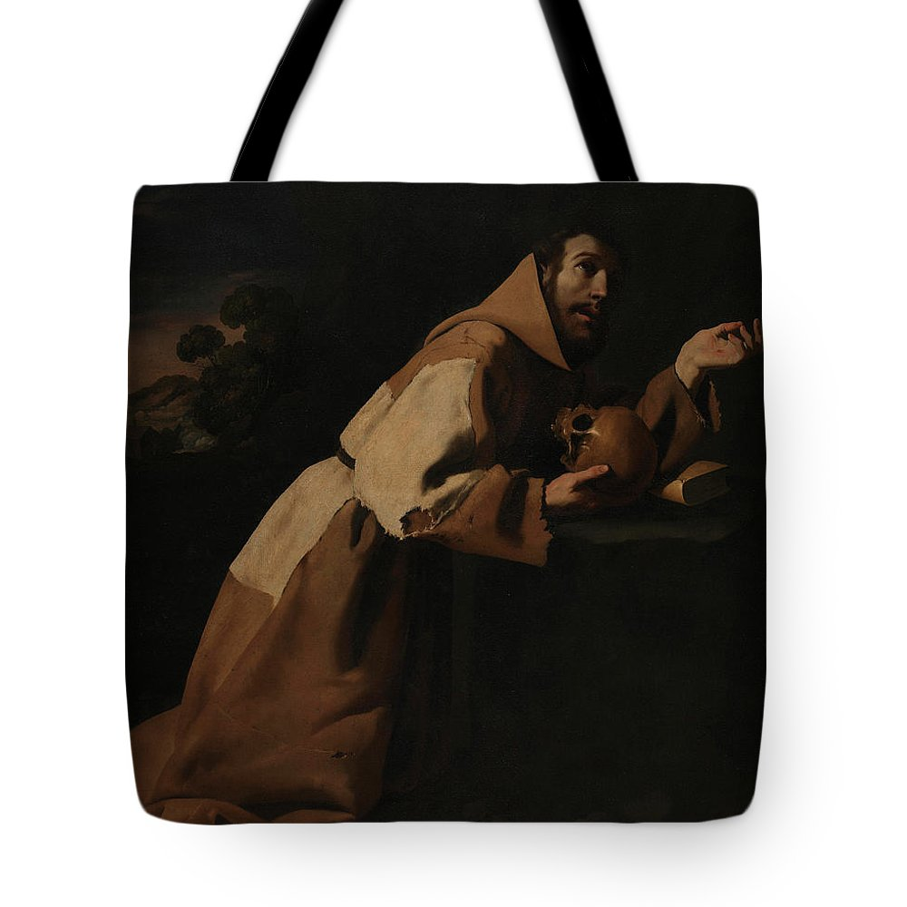 Clothing Tote Bag featuring the painting Saint Francis In Meditation by Francisco de Zurbaran