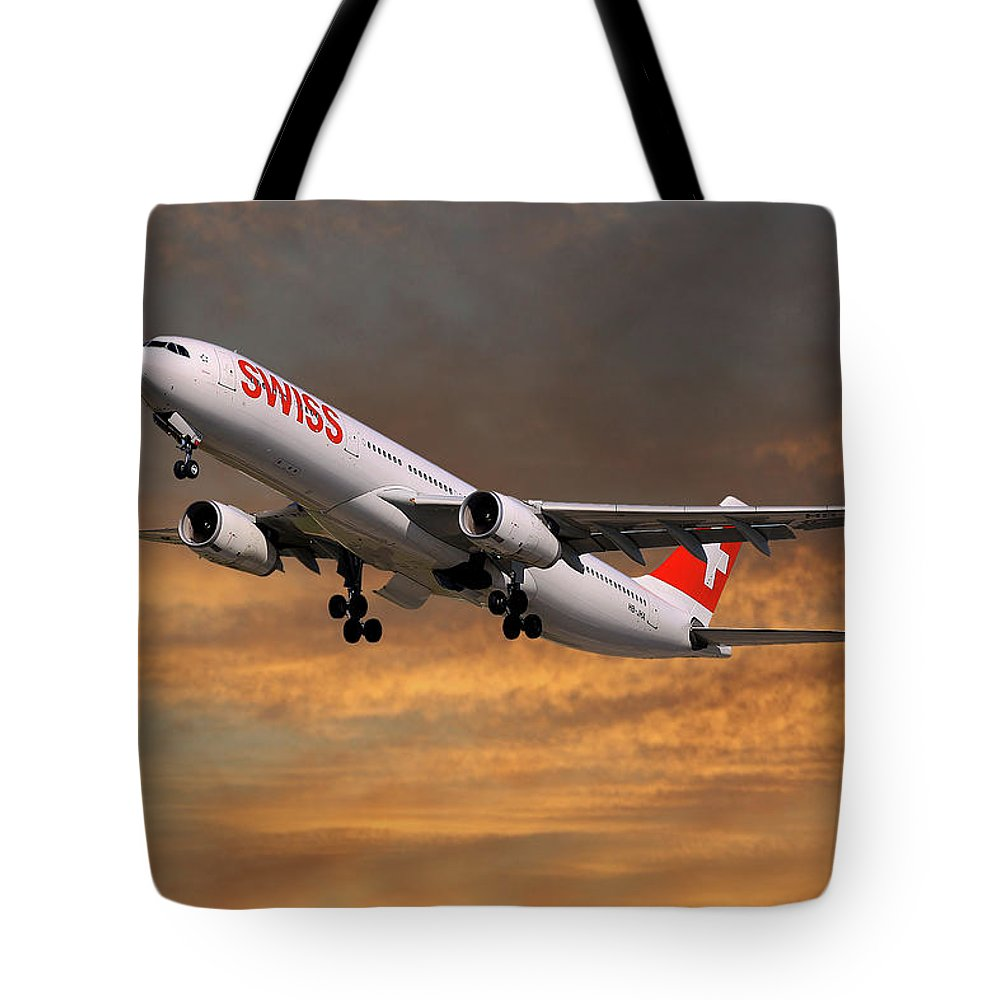 Swiss Tote Bag featuring the photograph Swiss Airbus A330-343 by Smart Aviation