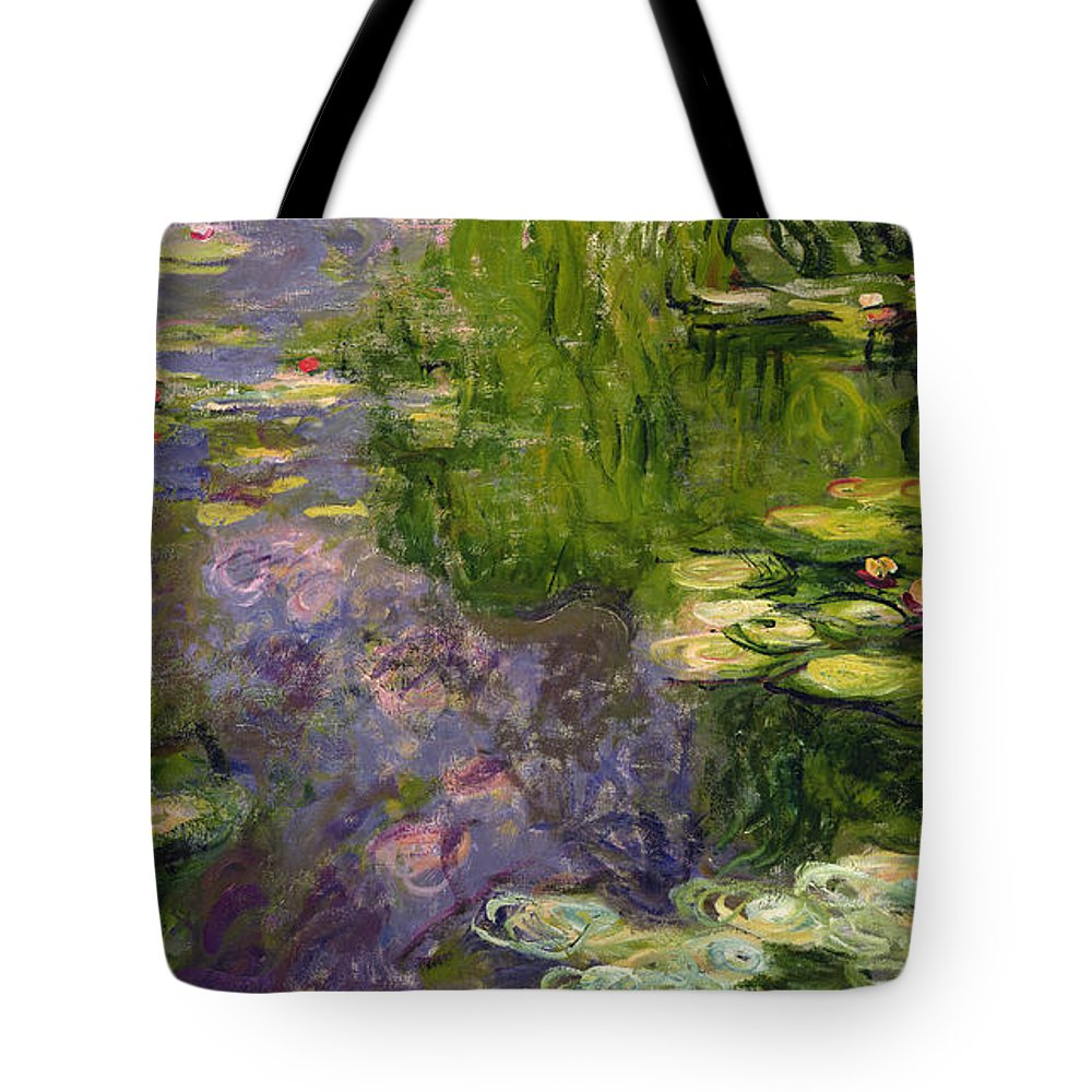 Nympheas; Water; Lily; Waterlily; Impressionist; Green; Purple Tote Bag featuring the painting Waterlilies by Claude Monet